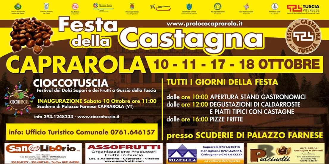 Festa della Castagna Caprarola: 10 e 11 Ottobre - 17 e 18 Ottobre 2015