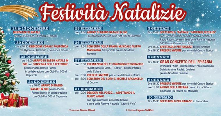 Festività Natalizie a Caprarola: 12 Dicembre - 10 Gennaio 2015